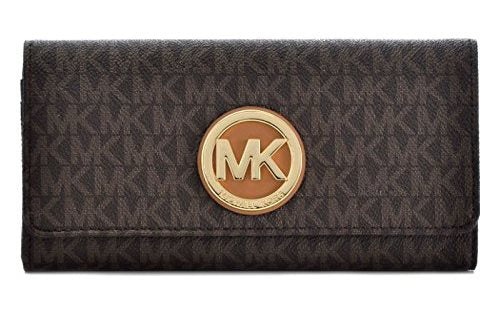 Michael Kors PVC Leather Fulton Flap Continental Wallet - Brown -