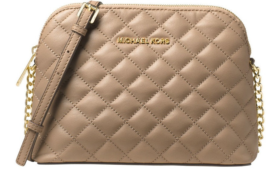 Michael Kors Cindy Large Dome Crossbody Quilted Costa Lamb 18K - Bisque -
