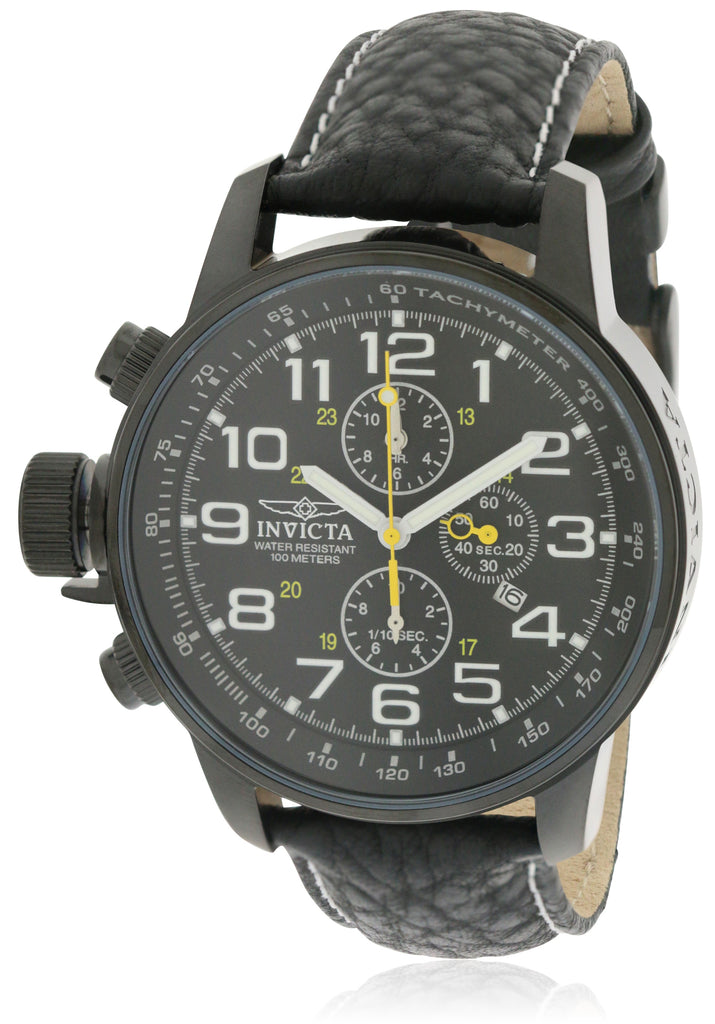 Invicta Mens Lefty Chronograph Black Leather Watch