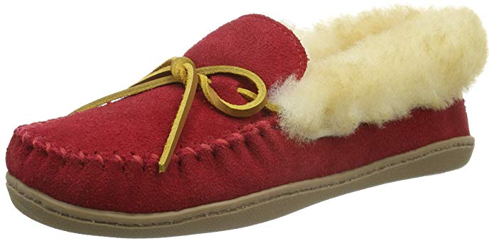 Minnetonka Womens Alpine Sheepskin Moccasin - Red - Size 9
