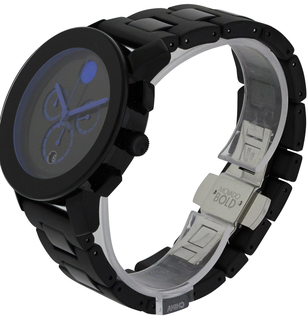 Movado Bold Steel And Rubber Large Unisex Watch
