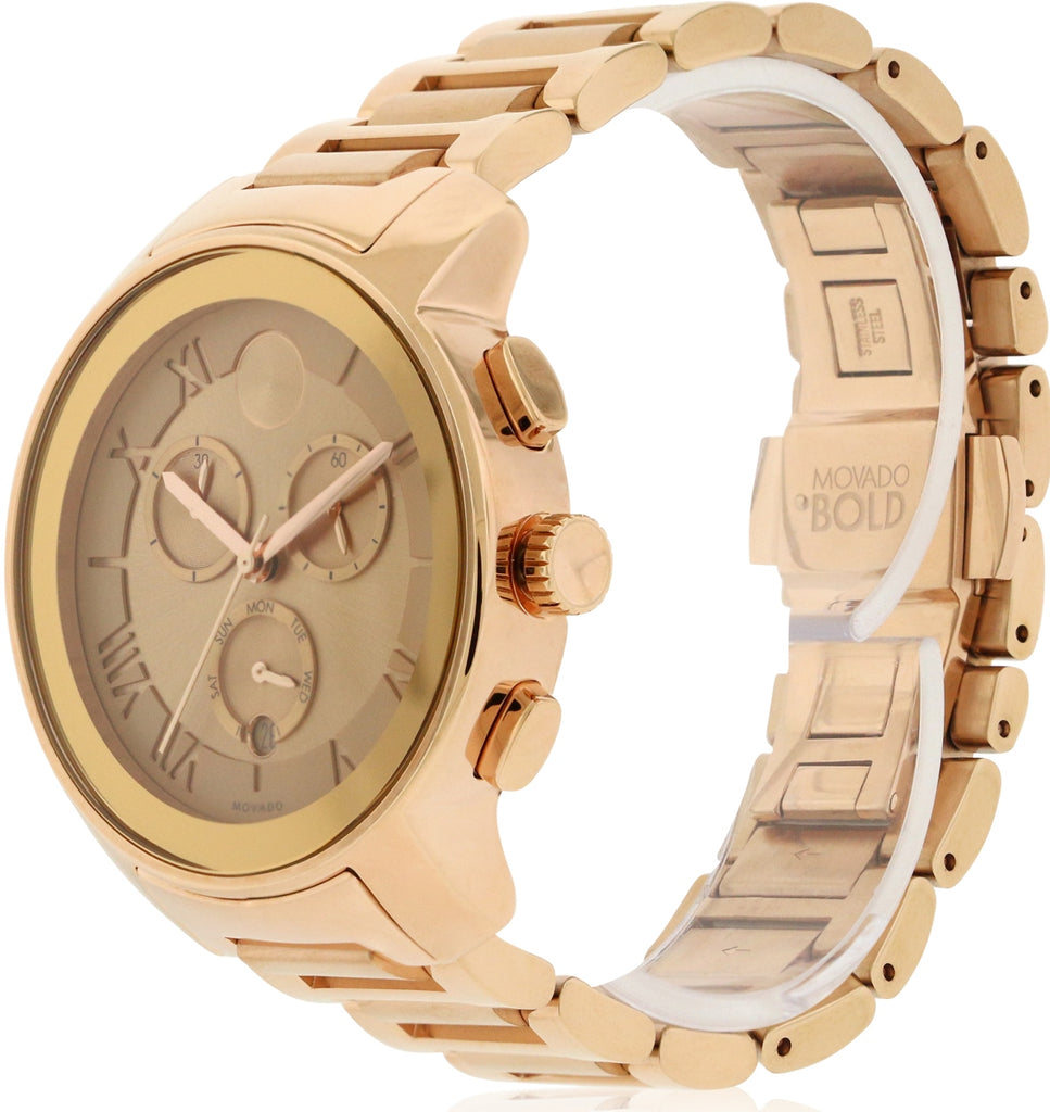 Movado Bold Rose Gold Ion Chronograph Ladies Watch