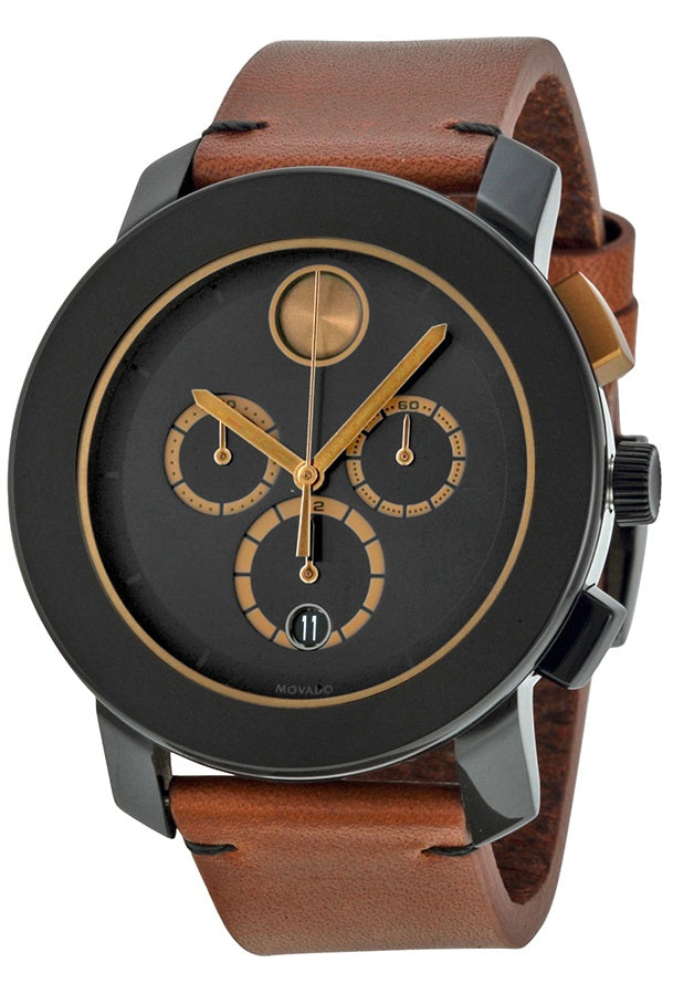 Movado Bold Chronograph Cognac Leather Mens Watch