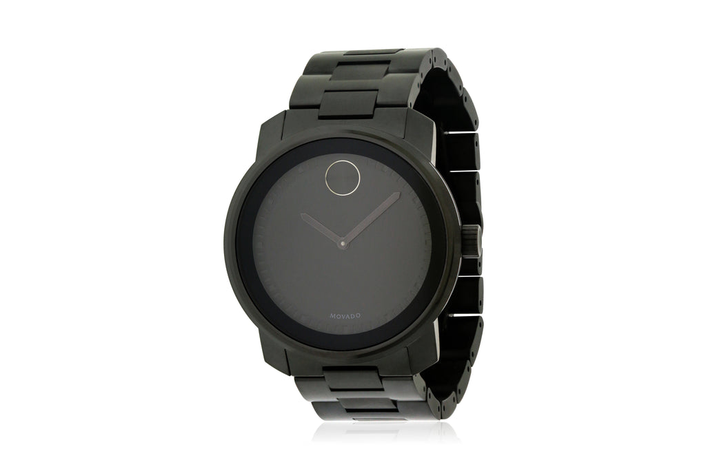 Movado Bold Black Stainless Steel Mens Watch