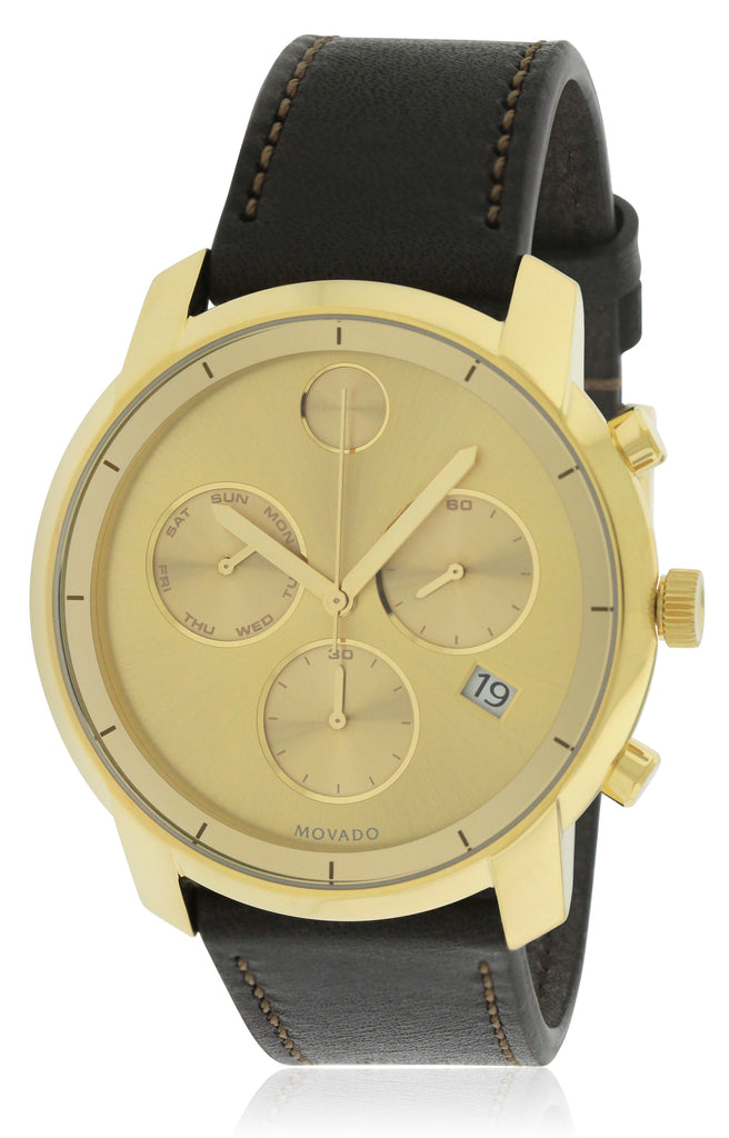 Movado Bold Leather Chronograph Mens Watch