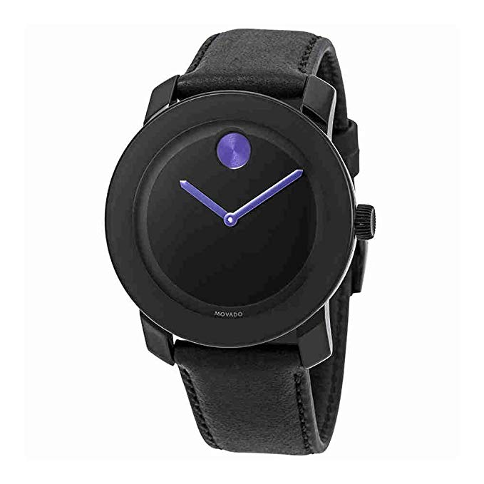 Movado Bold Leather Purple Accents Unisex Watch