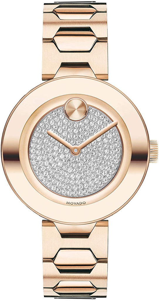 Movado Bold Crystal Pave Gold-Tone Ladies Watch
