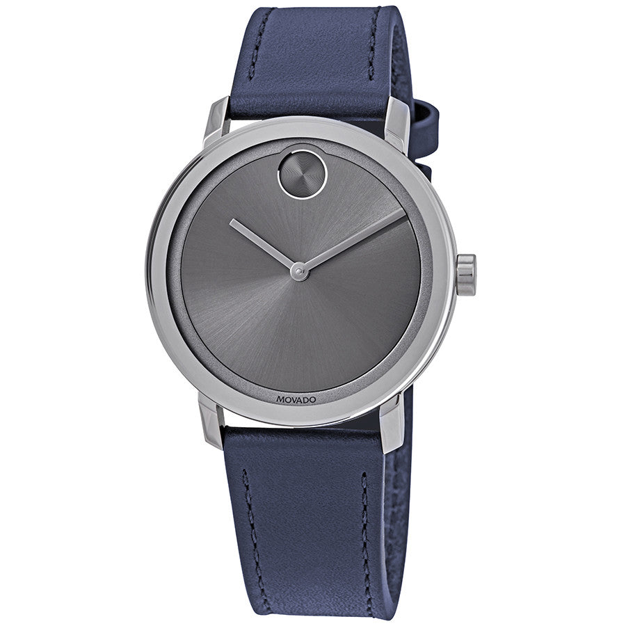 Movado Bold Navy Leather Mens Watch