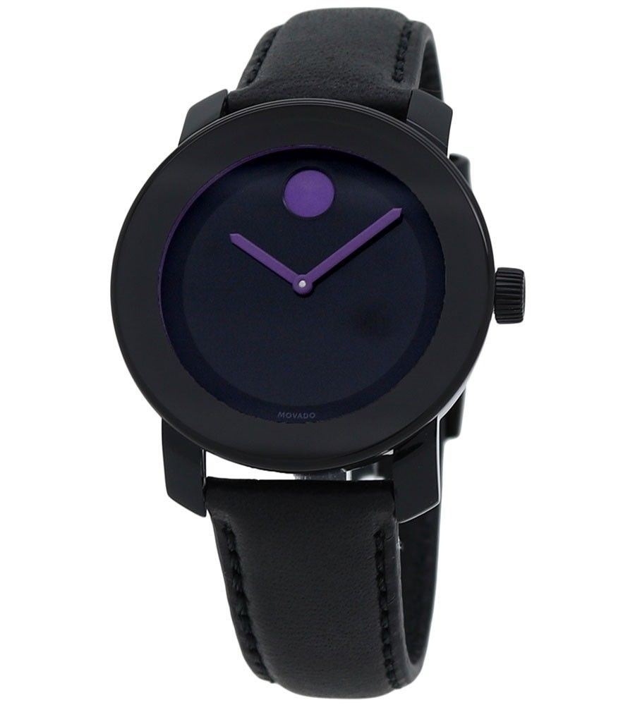 Movado Bold Leather Purple Accents Ladies Watch