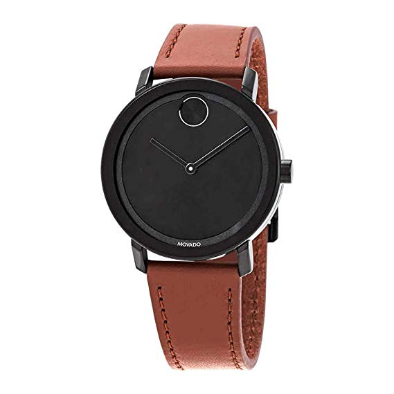 Movado Bold Cognac Leather Mens Watch