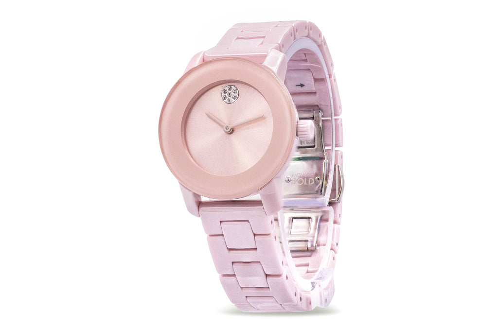 Movado Bold Pink Ceramic  Ladies Watch