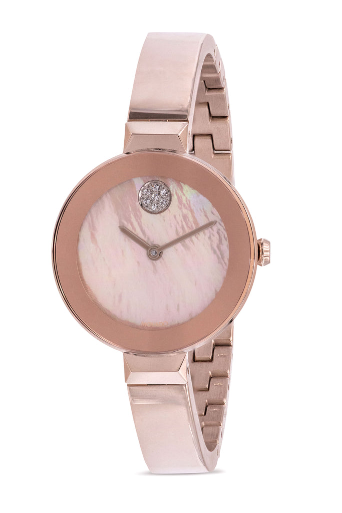 Movado Bold Rose Gold-Tone Bangle Ladies Watch