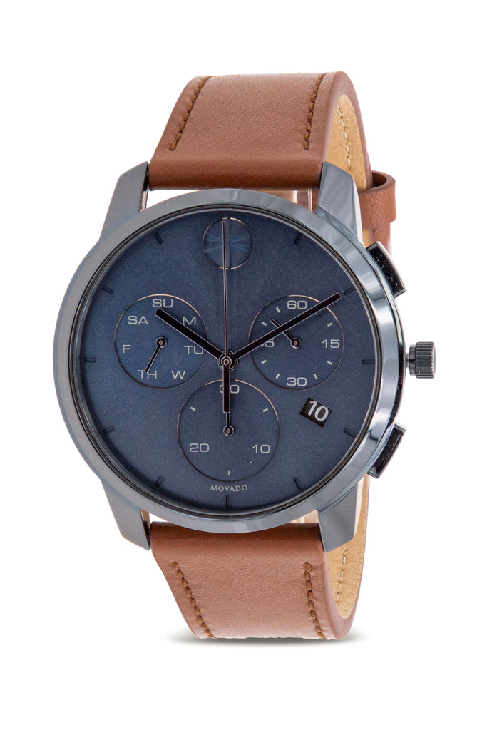 Movado Bold Thin Chronograph Leather Mens Watch