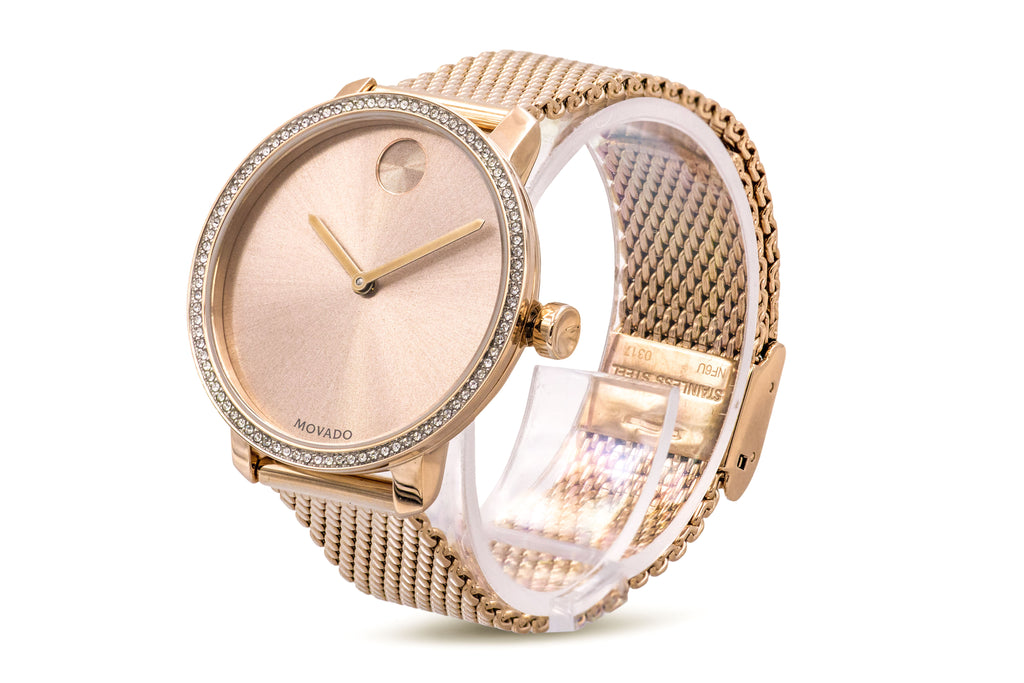 Movado Bold Rose Gold-Tone Mesh Ladies Watch