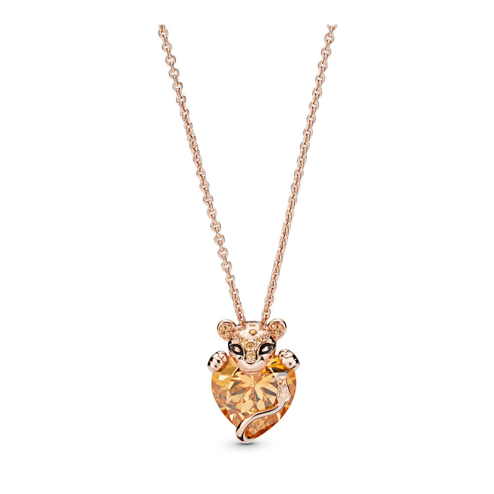 PANDORA Sparkling Lion Princess Heart Pendant with Chain
