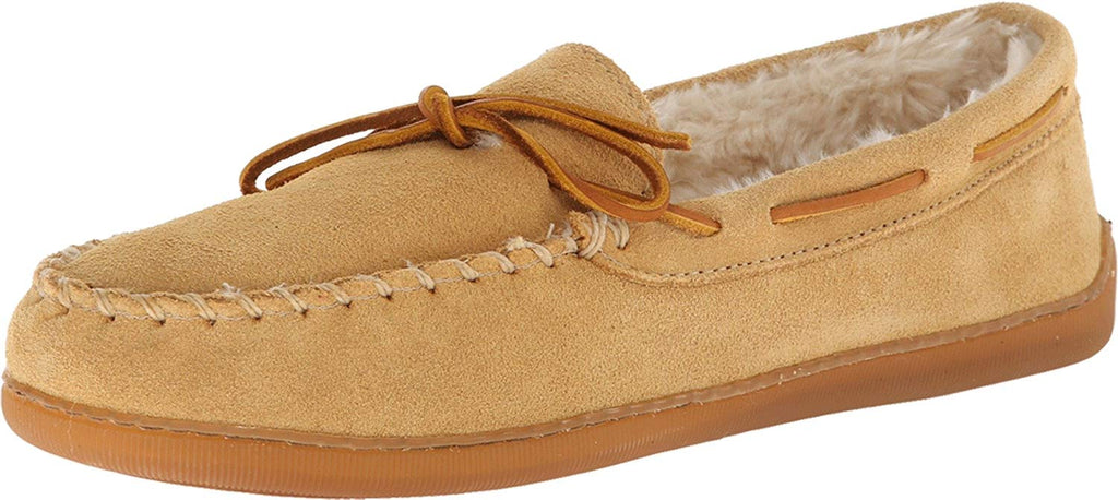 Minnetonka Mens Pile Lined Hardsole Slipper -  Tan Suede -  8 M