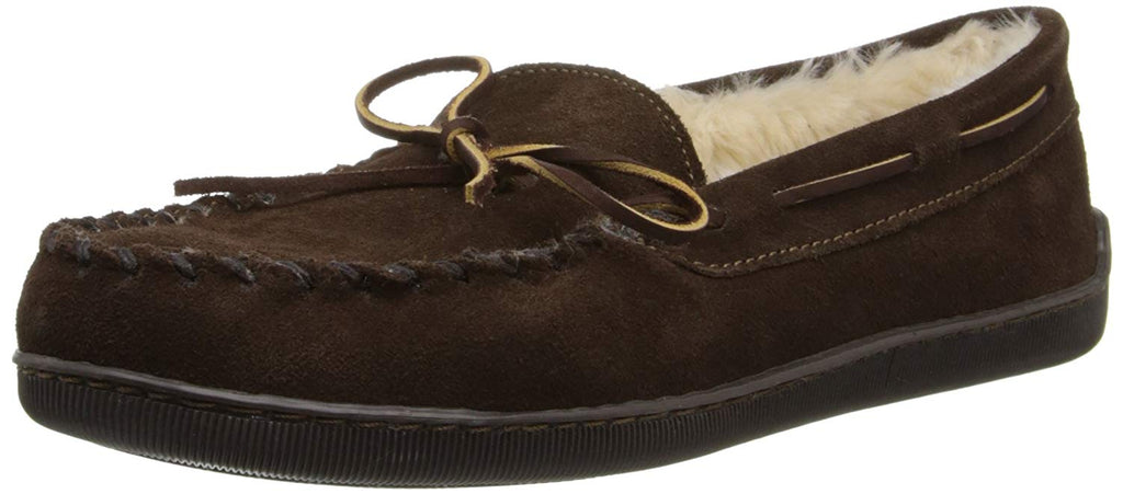 Minnetonka Mens Pile Lined Hardsole Slipper - Chocolate - 7 M US