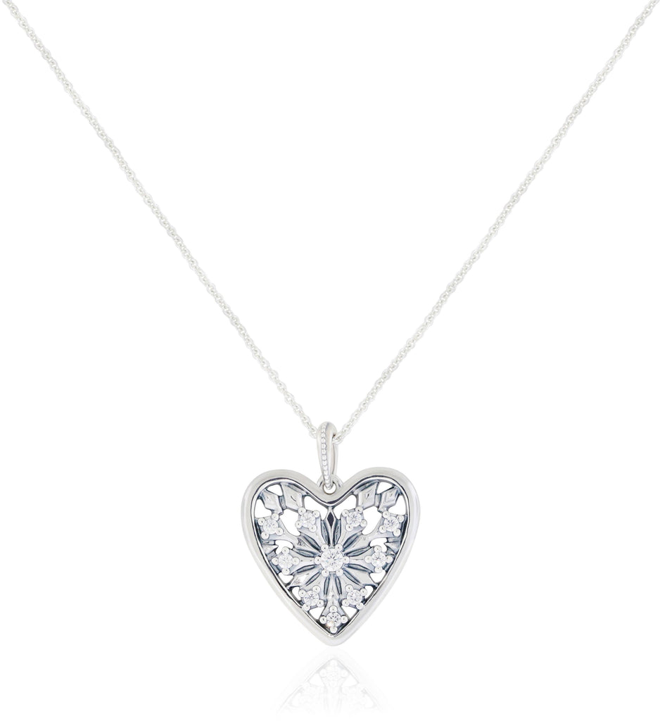 Pandora Sterling Silver Heart of Winter CZ Necklace -