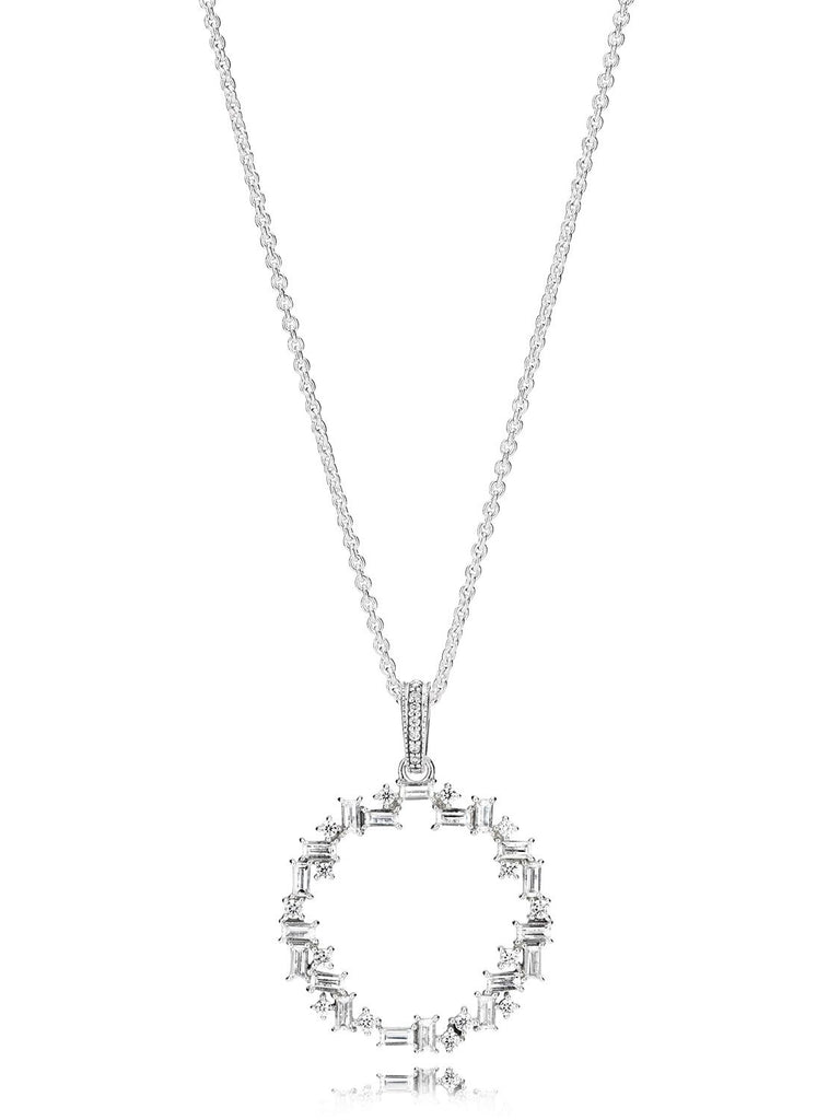 PANDORA Sparkling Ice Cube Circle Pendant Necklace