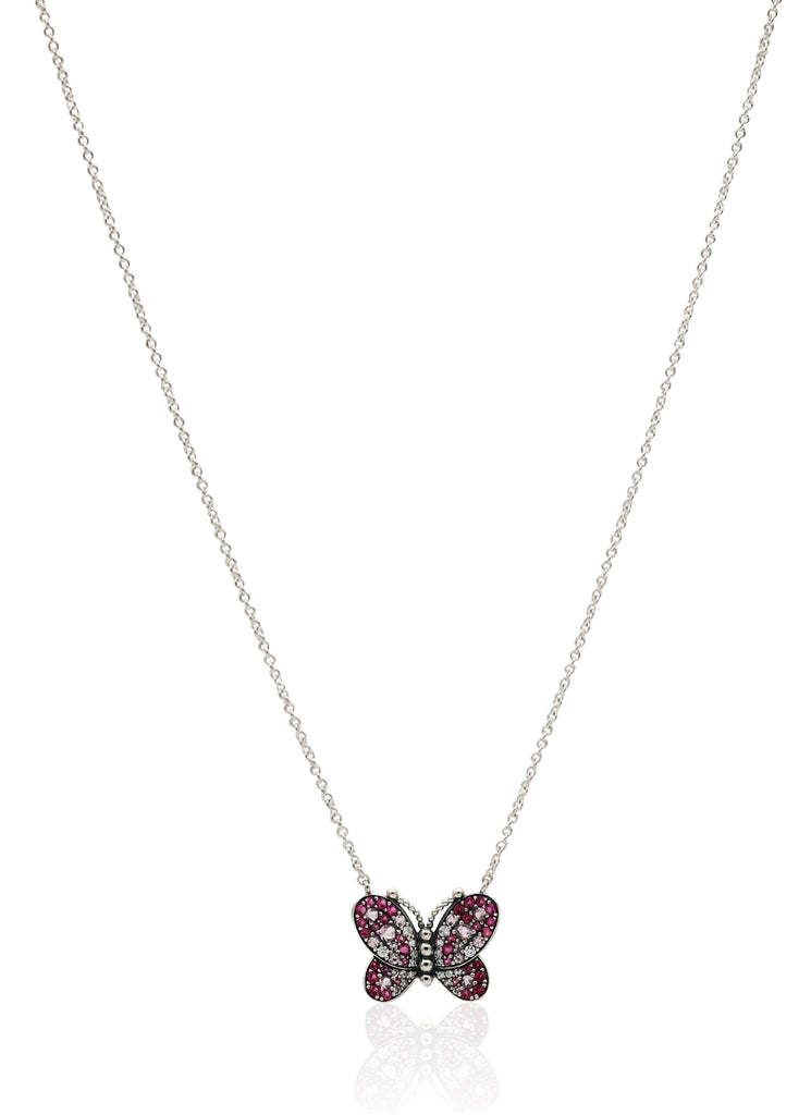 PANDORA Dazzling Pink Butterfly Necklace