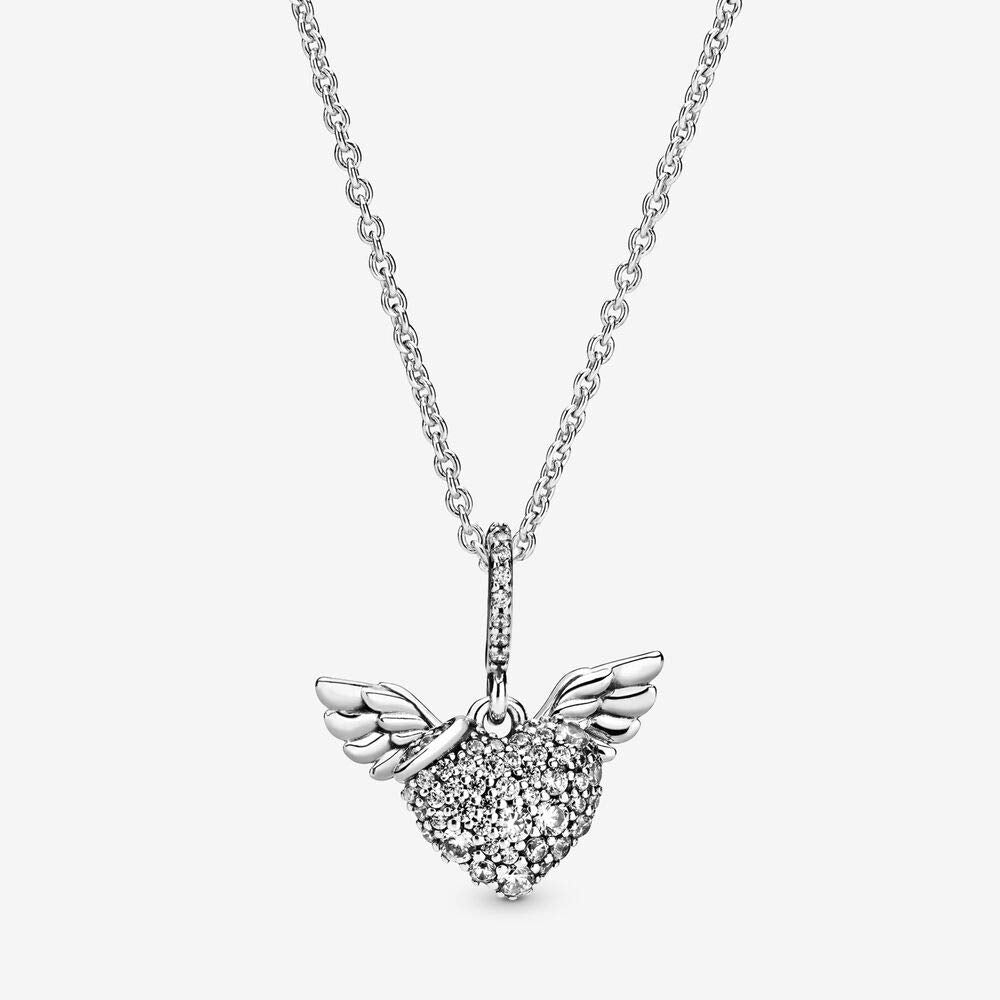 PANDORA Pave Heart and Angel Wings Necklace -