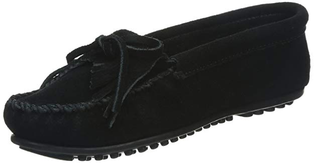 Minnetonka Womens Kilty Moccasin - Black - 7.5