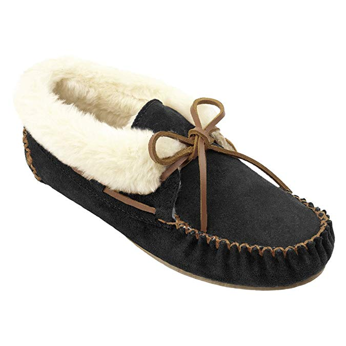Minnetonka Womens Chrissy Slipper Bootie - Black/Tan  - Size 6