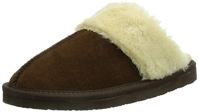 Minnetonka Womens Chesney Fur Lined Slippers - Chocolate - Size 6