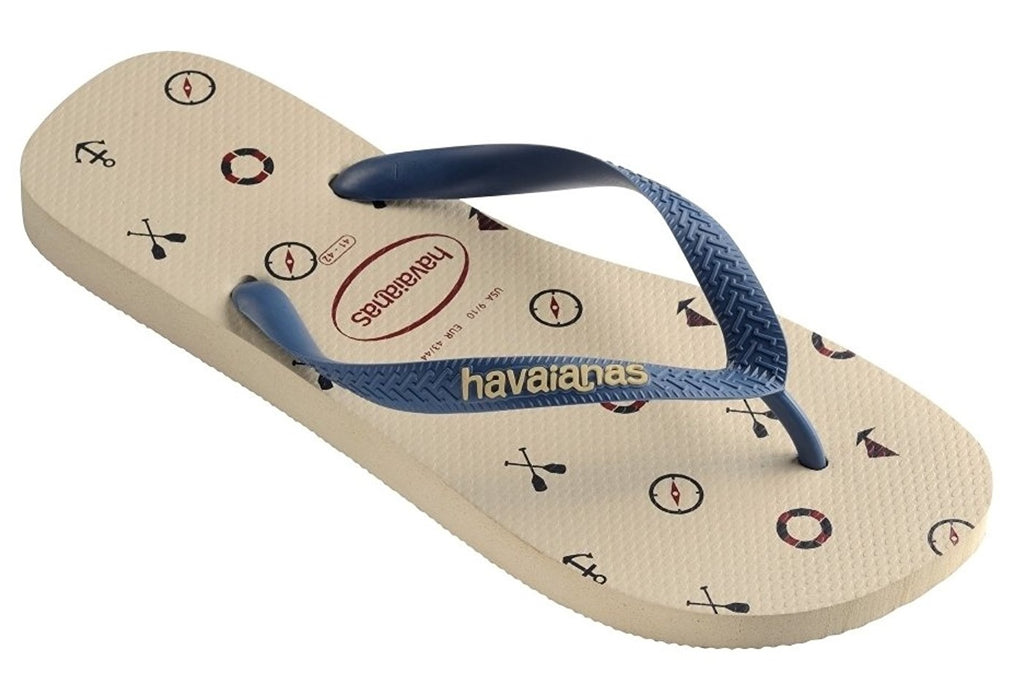 Havaianas Mens Top Nautical Flip-Flops Beige Sandals Size BR 37-38
