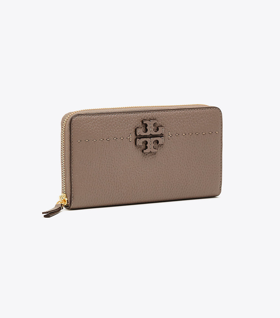 Tory Burch McGraw Continental Leather Wallet - Silver Maple