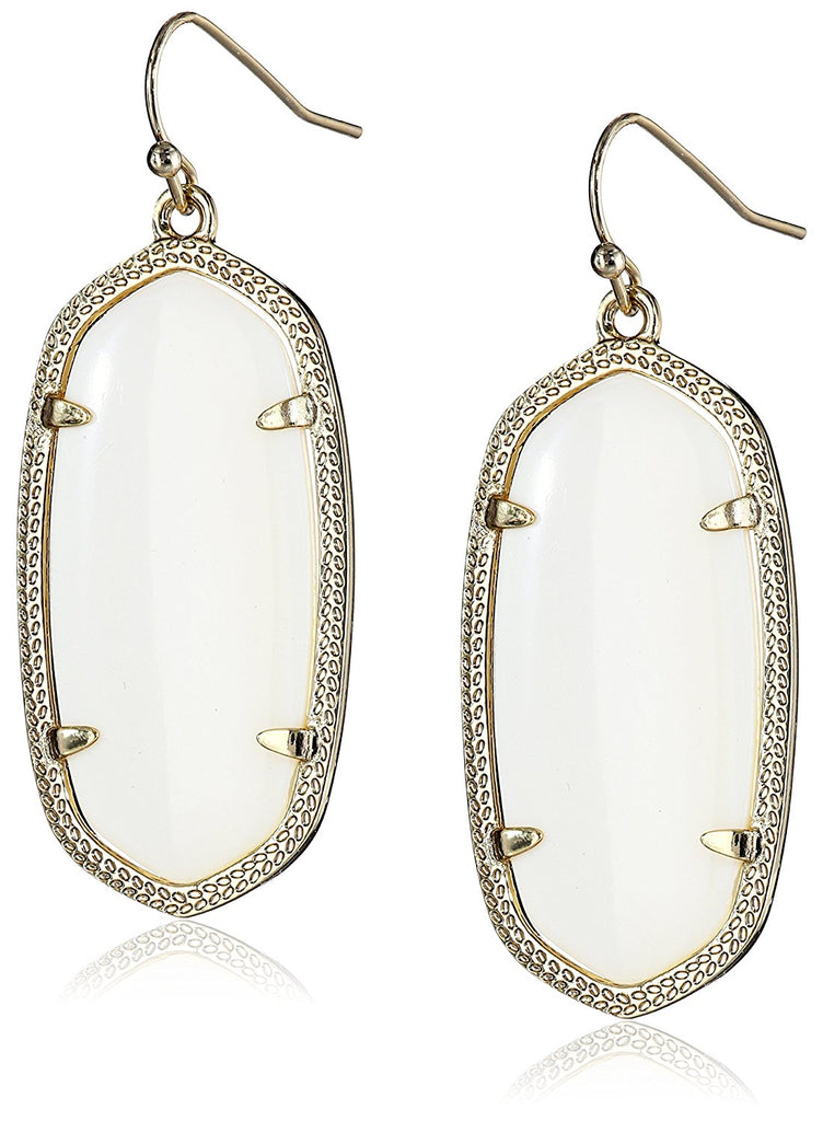Kendra Scott Signature Elle Gold Plated White Glass Drop Earrings -