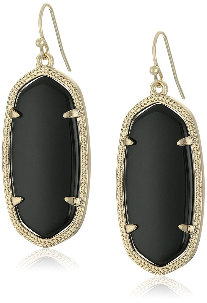 Kendra Scott Signature Elle Gold Plated Black Glass Drop Earrings -