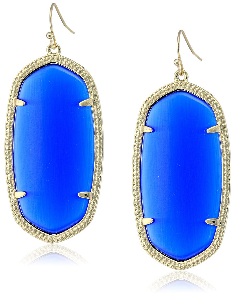 Kendra Scott Danielle Earrings - Cobalt Cats Eye Gold Tone -