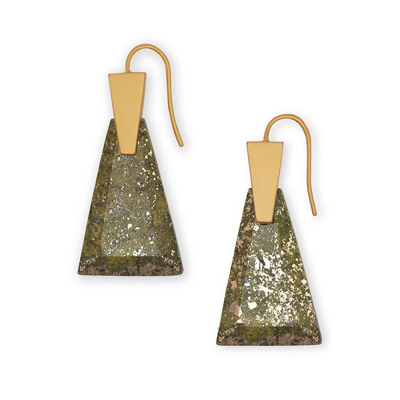 Kendra Scott Collins Small Olive Epidote Gold Tone Earrings -