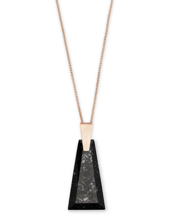 Kendra Scott Collins Black Granite Rose Tone Necklace -