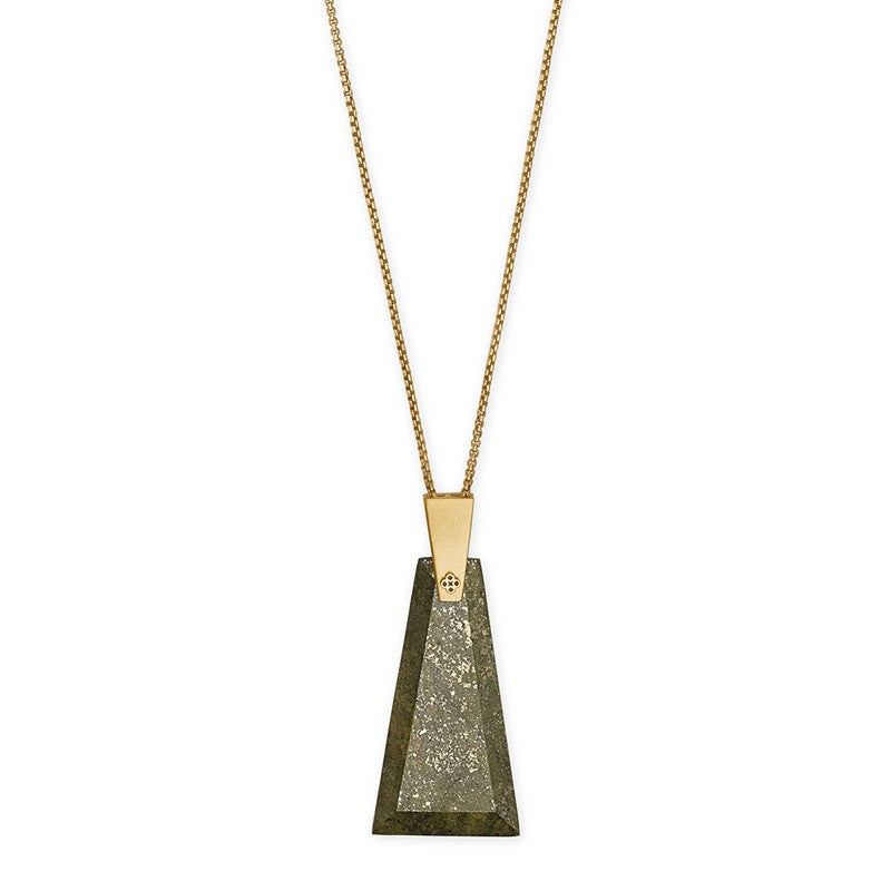 Kendra Scott Collins Long Olive Epidote Gold Tone Necklace -