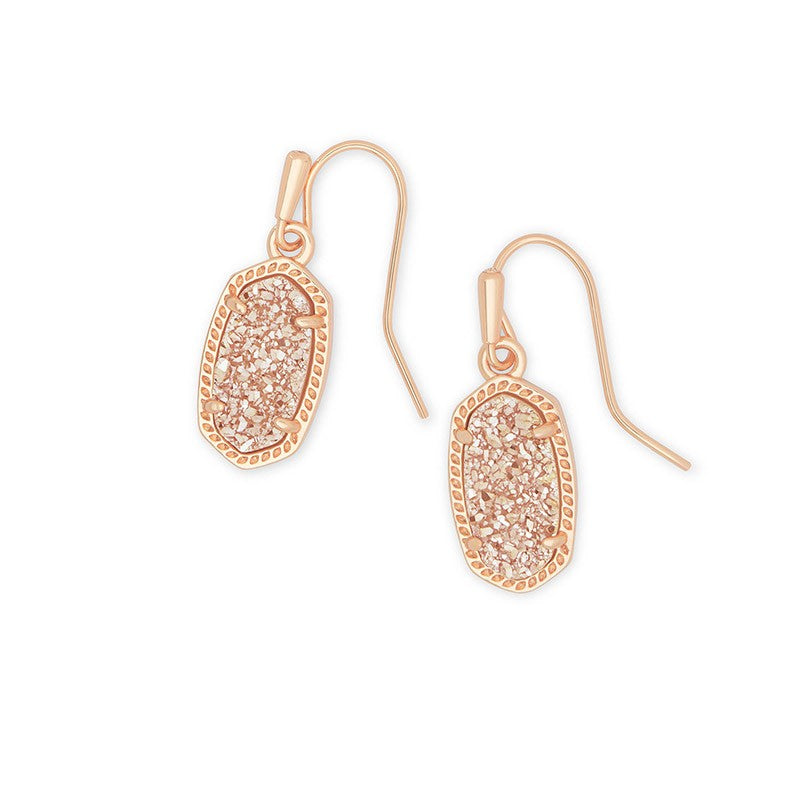 Kendra Scott Lee Rose Gold Earrings In Sand Drusy -