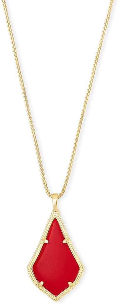 Kendra Scott Alex Bright Red Gold Tone Pendant Necklace -
