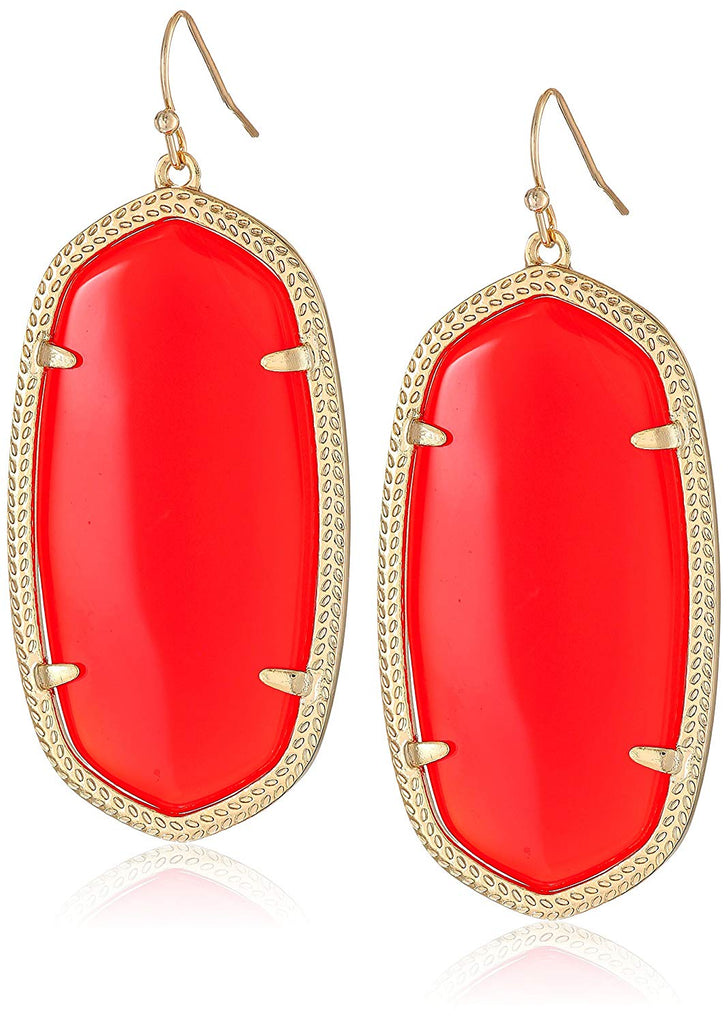 Kendra Scott Danielle Drop Earrings - Gold Plated Bright Red Glass  -