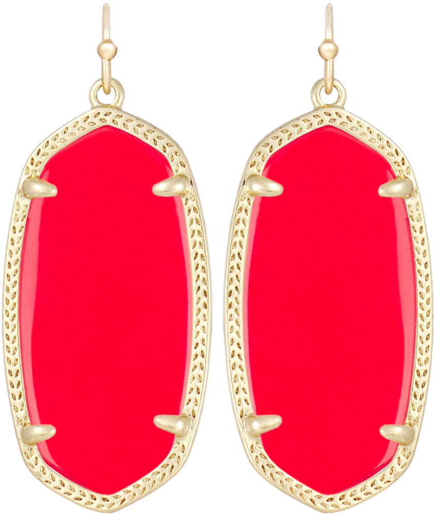 Kendra Scott Elle Gold Earrings - Bright Red Opaque Glass -