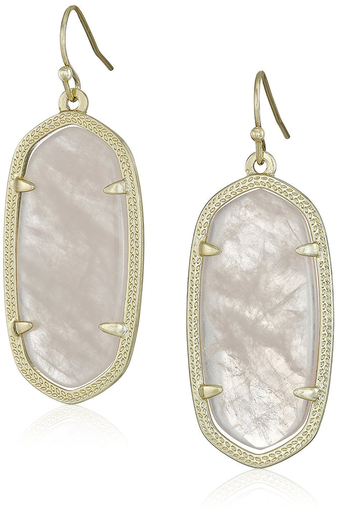 Kendra Scott Signature Elle Gold Plated Rose Quartz Drop Earrings -