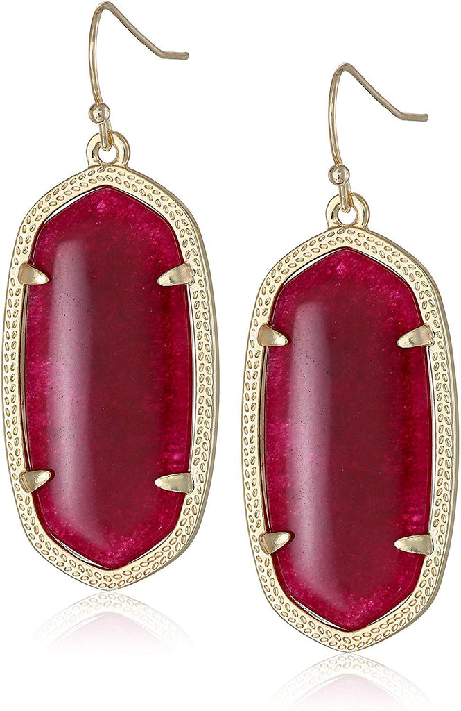 Kendra Scott Elle Maroon Jade Drop Earrings -