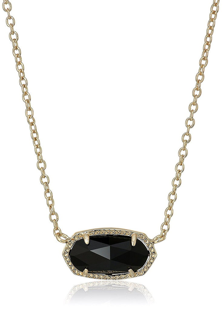 Kendra Scott Signature Elisa Gold Plated Black Glass Pendant Necklace -