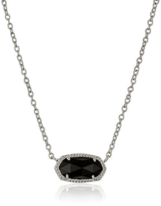 Kendra Scott Elisa Rhodium Necklace - Black Opaque -