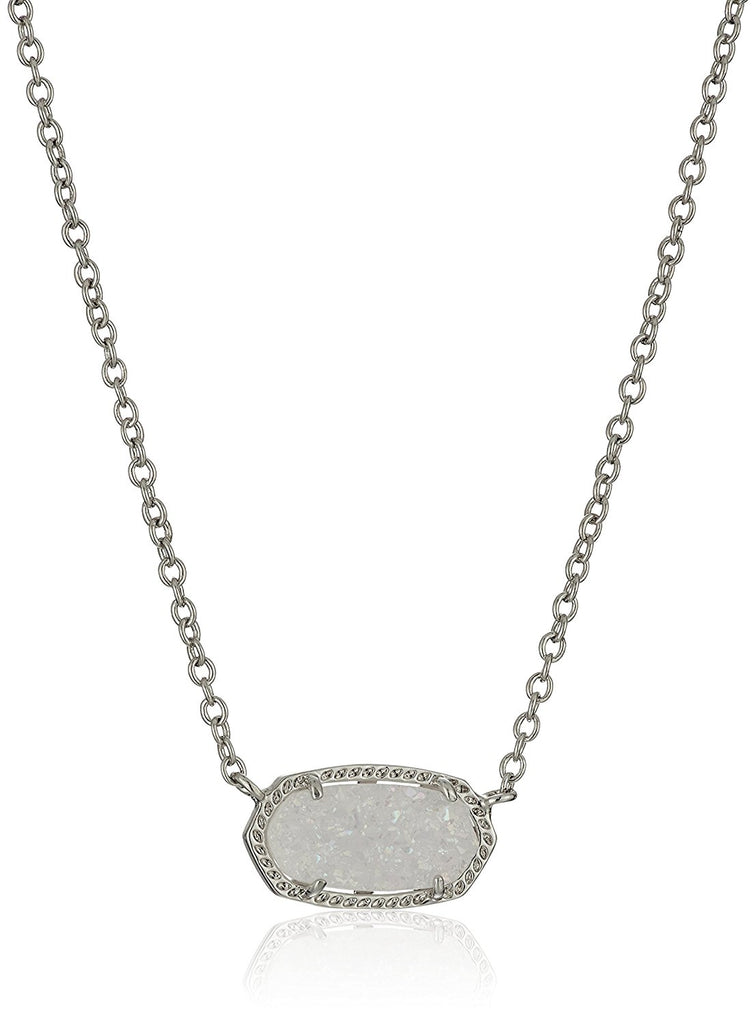 Kendra Scott Signature Elisa Rhodium Plated Iridescent Drusy Pendant Necklace -