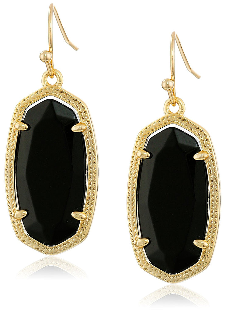 Kendra Scott Signature Dani Gold Plated Black Glass Drop Earrings -