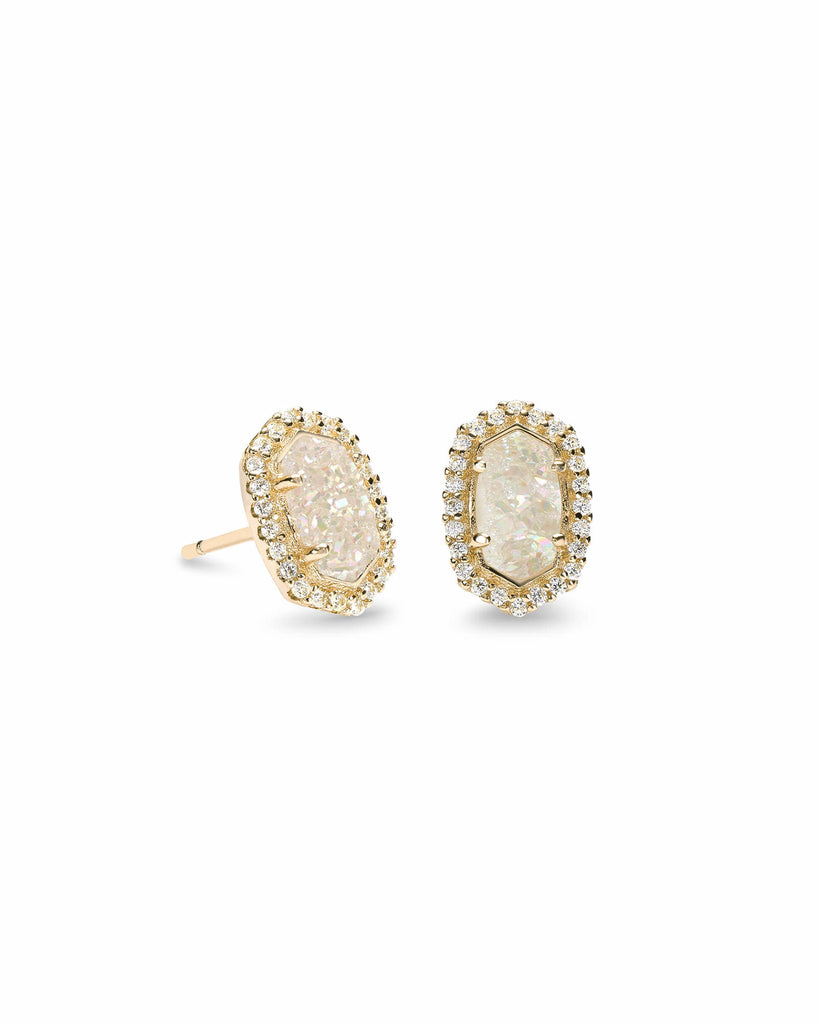 Kendra Scott Cade Gold Stud Earrings in Iridescent Drusy -