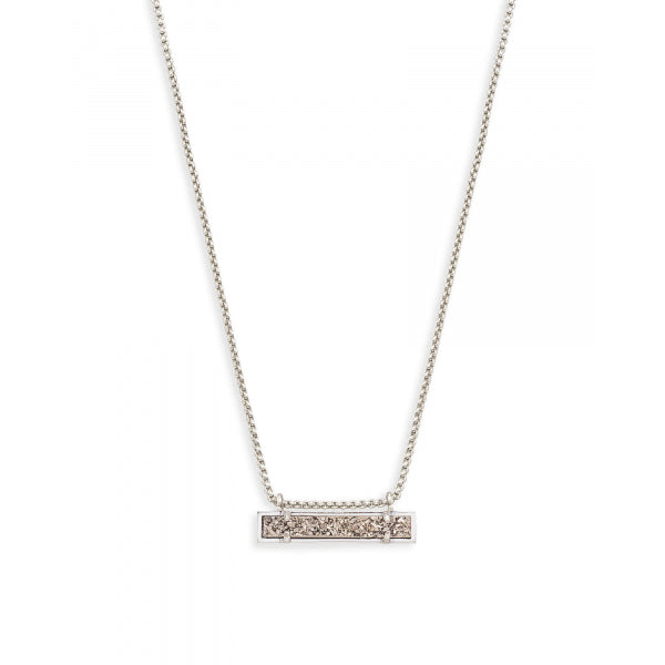 Kendra Scott Leanor Bar Pendant Necklace in Platinum Drusy and Rhodium Plated