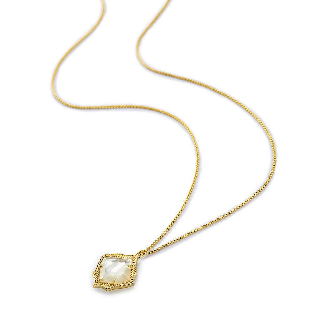 Kendra Scott Kacey Pendant Necklace in Gold Plated and Ivory Mother of Pearl