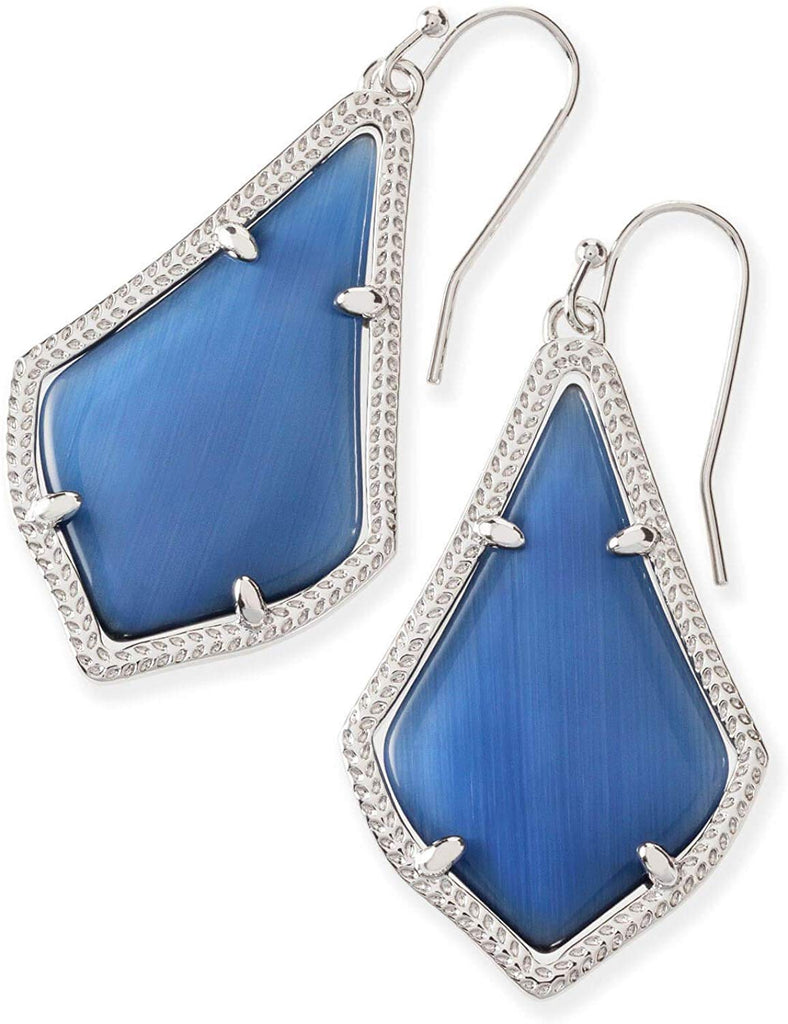 Kendra Scott Alex Navy Cats Eye Rhodium Earrings -